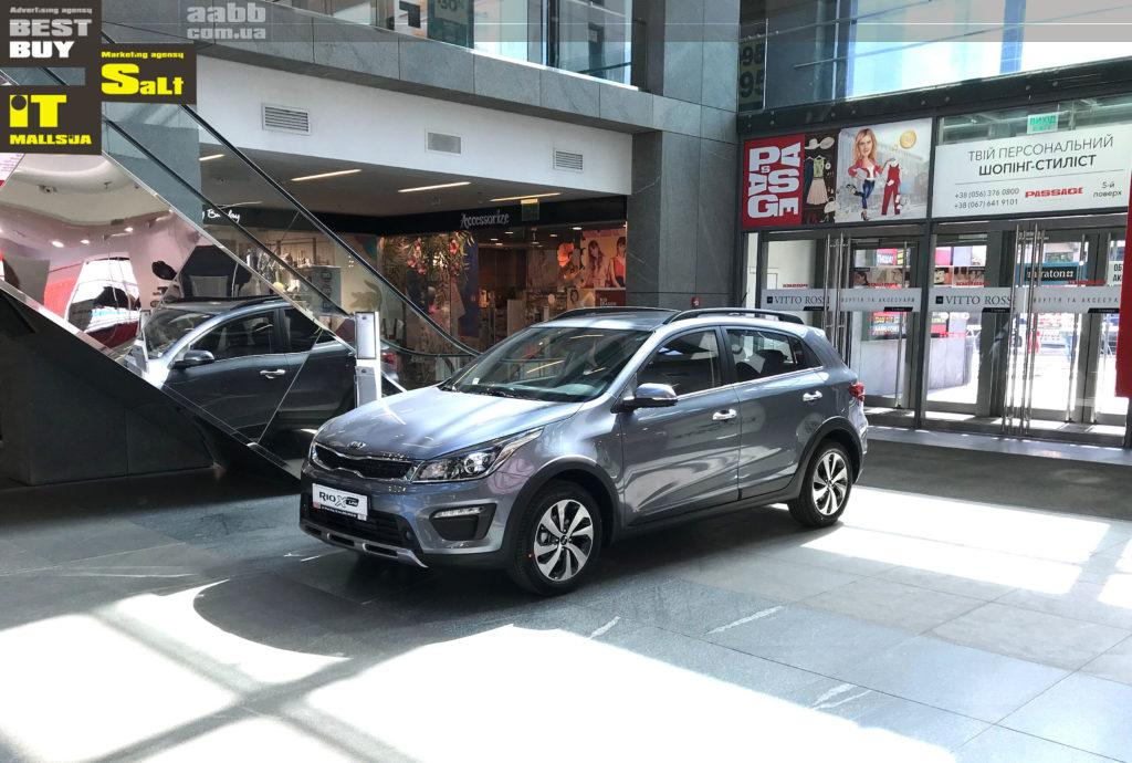 Exhibition of cars in the shopping center Passage of the city of Dnipro