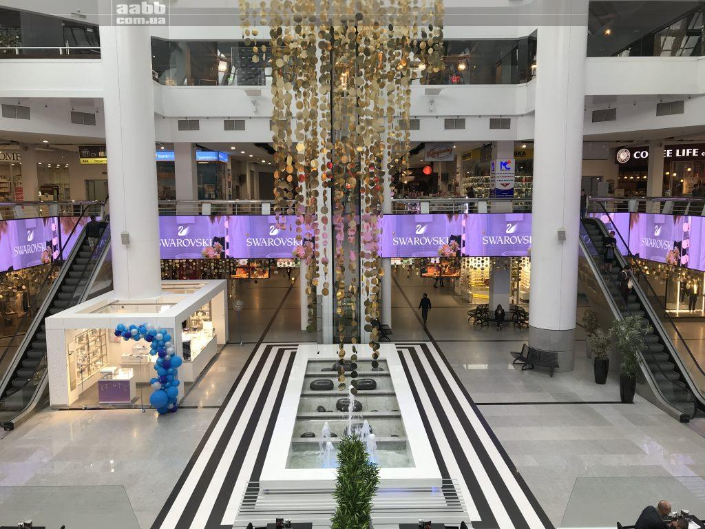 Swarovski advertising on the Most City shopping center video screen