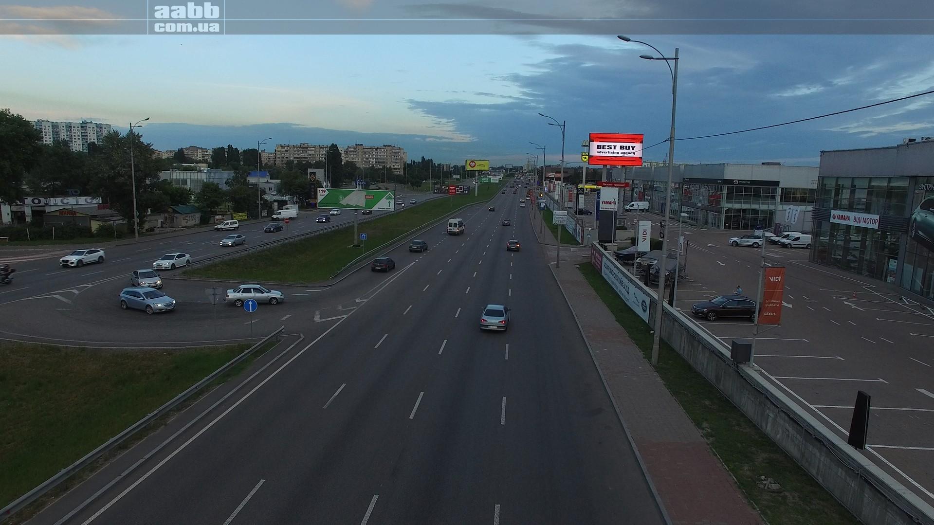 Реклама на відеоборді на вул. Окружна в м. Київ