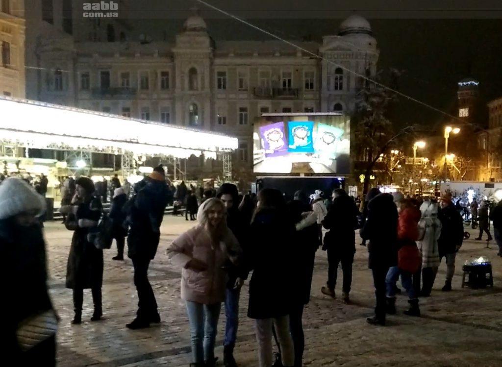 Реклама Хомка на видеоэкране Софиевской пл.Киев