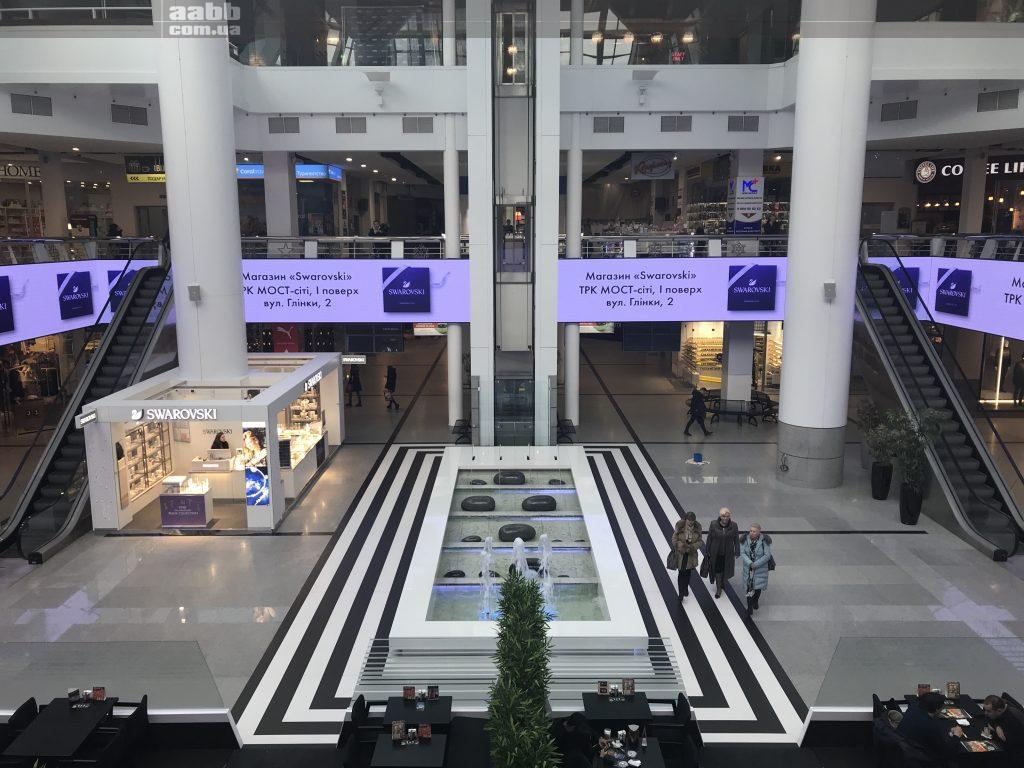 Swarovski advertising on the video screen of the Most-City shopping center