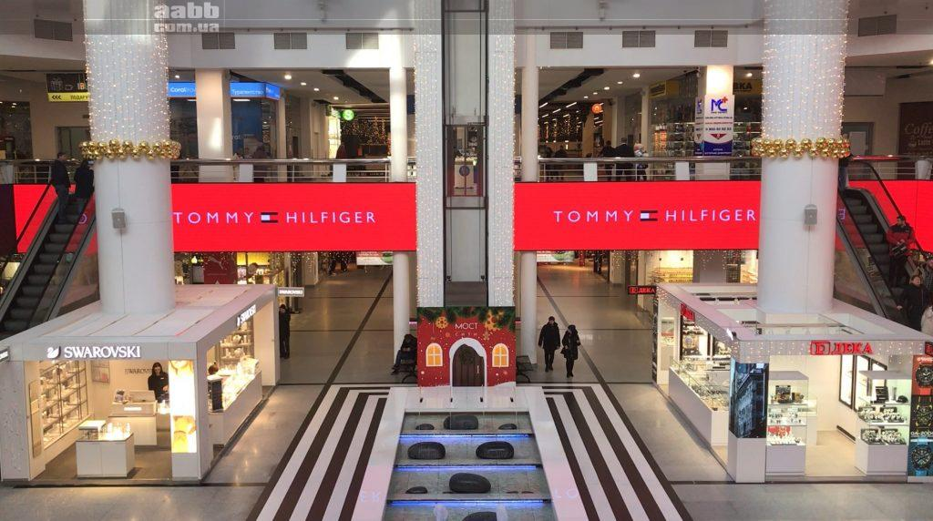Tommy Hilfiger advertising on the video screen of Most City shopping mall