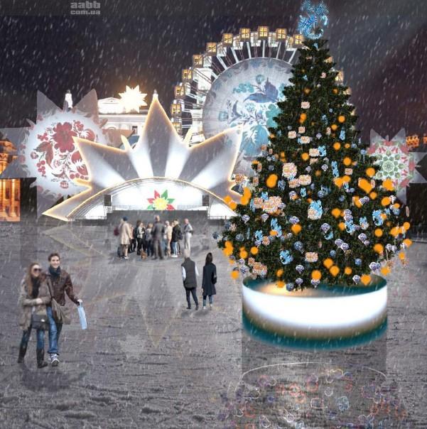 Новорічна реклама на Контрактовій площі