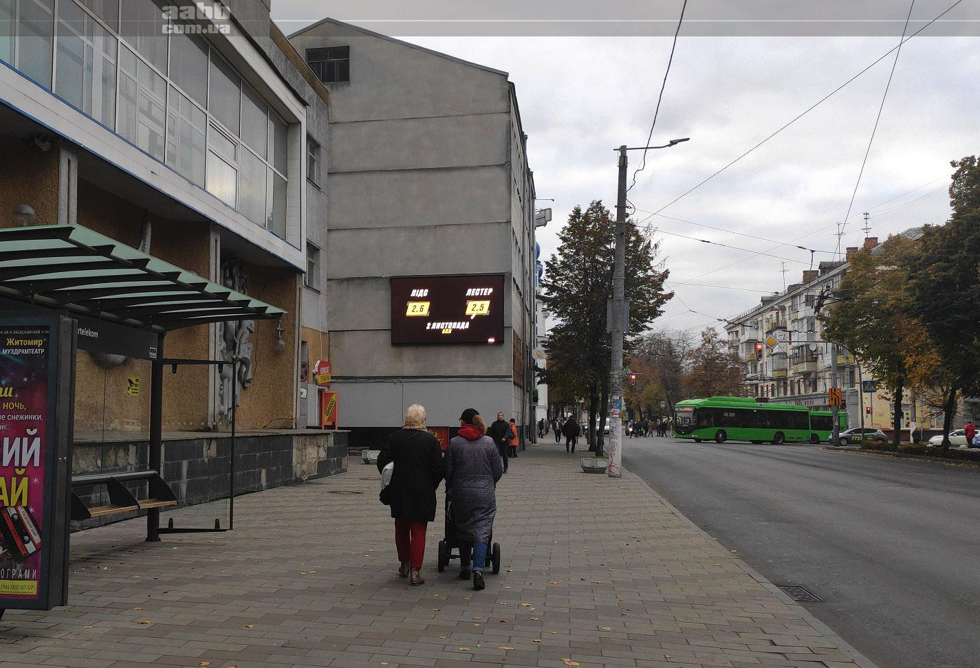 Advertising on video screens in Zhytomyr (November 2020)