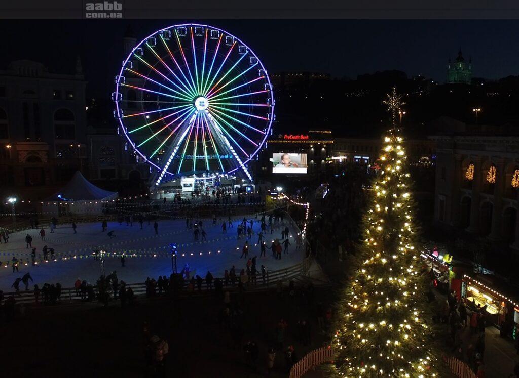 Реклама Флавамед на Контрактовій площі в період новорічних свят