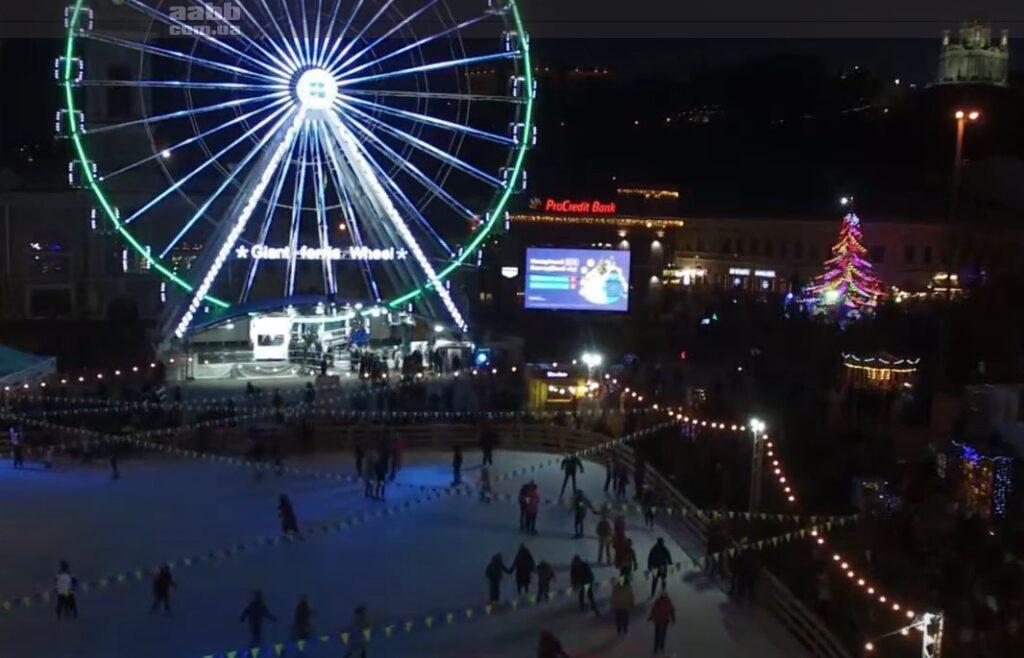 Реклама Ланет на Контрактовій площі в період новорічних свят